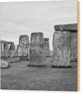View Of Circle Of Sarsen Trilithon Stones At Side Opposite The Avenue Stonehenge Wiltshire England U Wood Print