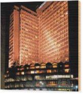 View Of Hong Kong Hilton At Night Wood Print