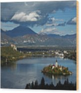 View Of Lake Bled From Ojstrica Wood Print