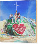 View Of Salvation Mountain Wood Print