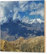 View Of Snow Peaks Leh Ladakh  Jammu And Kashmir India Wood Print