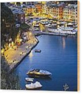 View Of The Harbour At Dusk  Portofino Wood Print