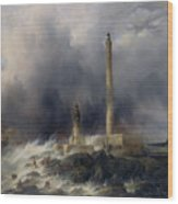 View Of The Lighthouse At Gatteville Wood Print