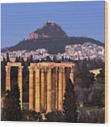 View Of The Temple Of Olympian Zeus And Mount Lycabettus In The  Wood Print