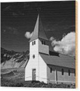 vik church Vik i Myrdal Iceland Wood Print