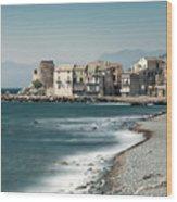 Village And Shingle Beach Of Erbalunga In Corsica Wood Print