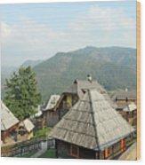Village On Mountain Rural Landscape Wood Print