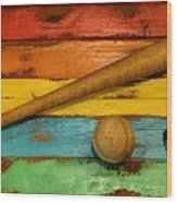Vintage Baseball Display Wood Print