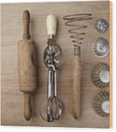 Vintage Cooking Utensils Wood Print