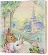 Vintage Easter Bunnies Wood Print
