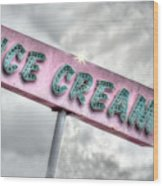 Vintage Ice Cream Sign Wood Print