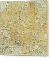 Vintage Map Of Athens Greece - 1894 Wood Print
