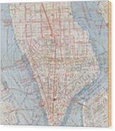 Vintage Map Of Lower Manhattan  Wood Print