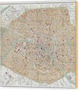 Vintage Map Of Paris  Wood Print