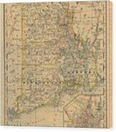 Vintage Map Of Rhode Island  Wood Print