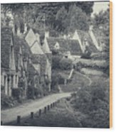 Vintage Photo Effect Medieval Arlington Row In Cotswolds Country Wood Print