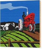 Vintage Tractor Retro Wood Print