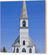 Vintage White Church With Bell  Wood Print