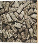 Vintage Wine Corks Wood Print by Frank Tschakert