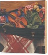 Violin Case And Flowers Wood Print