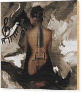 Violin Lady  Wood Print