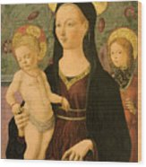 Virgin And Child With An Angel Wood Print