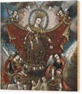 Virgin Of Carmel Saving Souls In Purgatory Wood Print