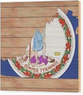 Virginia Rustic Map On Wood Wood Print