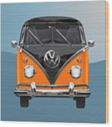 Volkswagen Type 2 - Black And Orange Volkswagen T 1 Samba Bus Over Blue Wood Print