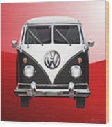 Volkswagen Type 2 - Black And White Volkswagen T 1 Samba Bus On Red  Wood Print