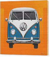 Volkswagen Type 2 - Blue And White Volkswagen T 1 Samba Bus Over Orange Canvas  Wood Print by Serge Averbukh