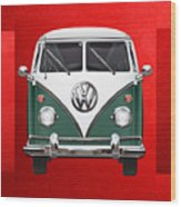 Volkswagen Type 2 - Green And White Volkswagen T 1 Samba Bus Over Red Canvas  Wood Print by Serge Averbukh