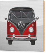 Volkswagen Type 2 - Red And Black Volkswagen T 1 Samba Bus On White  Wood Print