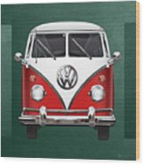 Volkswagen Type 2 - Red And White Volkswagen T 1 Samba Bus Over Green Canvas  Wood Print by Serge Averbukh