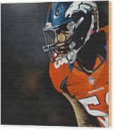 Von Miller Wood Print by Don Medina