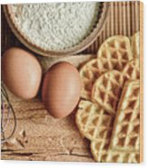 Waffles And Eggs Wood Print