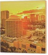 Waikiki City Sunset Wood Print