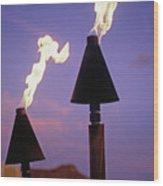 Waikiki, Tiki Torches Wood Print by Carl Shaneff - Printscapes