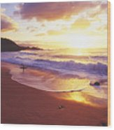 Waimea Bay Sunset Wood Print