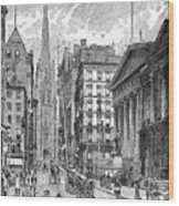 Wall Street, 1889 - To License For Professional Use Visit Granger.com Wood Print
