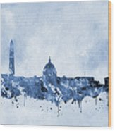 Washington Skyline-blue Wood Print