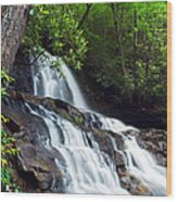 Water Cascading Over Rocky Cliffs Wood Print