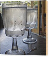 Water Glasses Sweating Wood Print