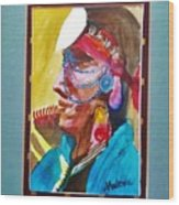 Water Healing Ceremonial Chief Yaz Wood Print