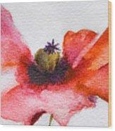 Watercolor Poppy Flower Wood Print