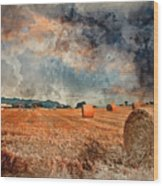 Watercolour Painting Of Beautiful Golden Hour Hay Bales Sunset L Wood Print