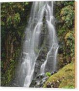 Waterfall At Azores Wood Print