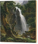 Waterfall At Mont-dore Wood Print