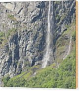Waterfall In Geiranger Norway Wood Print