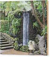waterfall in tripcal garden Monte Madeira Wood Print